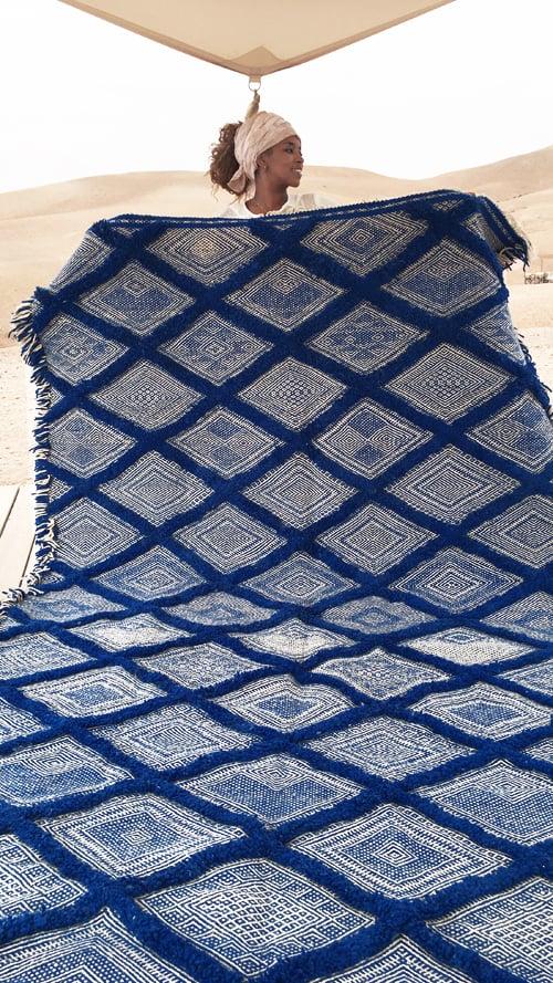 Image of Moroccan Kilim Rug - Diamond Pattern Flatweave #2