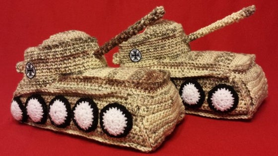 "Image of Panzer Hausschuhe / Tank Shoes ""Desert"""