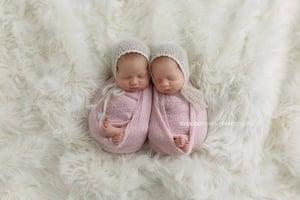Image of RTS - Newborn Bonnet, Lace Trim - Brushed Alpaca - Select Colors Avail.