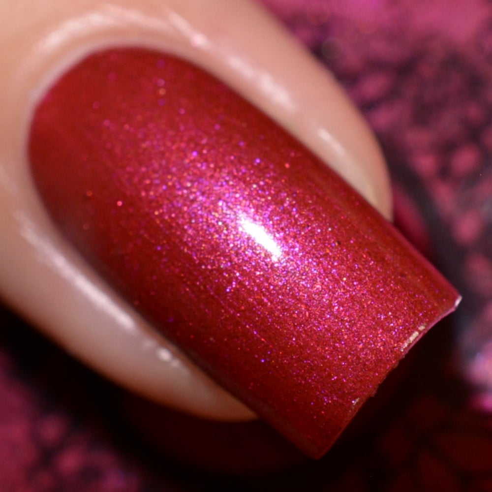 Image of ~Magical Carriage~ cranberry red w/magenta pink shimmer & copper microsparkles!