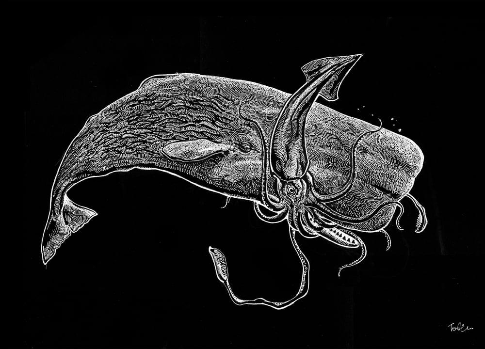 Image of SPERM WHALE SQUID BATTLE HOODED SWEATSHIRT