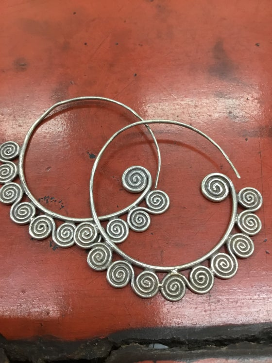Image of Hilltribe silver hoop and spiral earrings