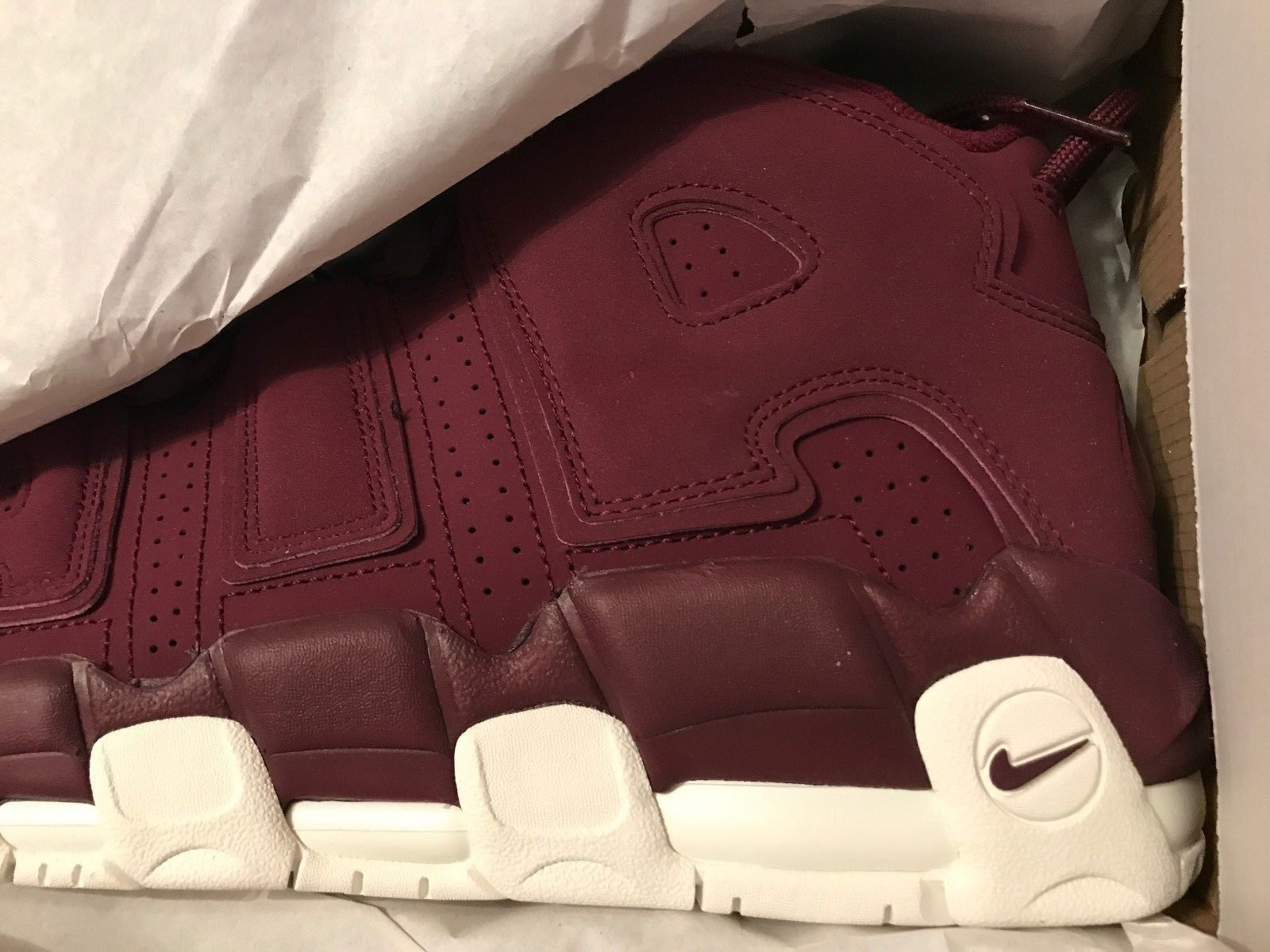 Image of Nike Air More Uptempo '96 Sz 13 QS 2017 Night Maroon 921949-600 Bordeaux - New