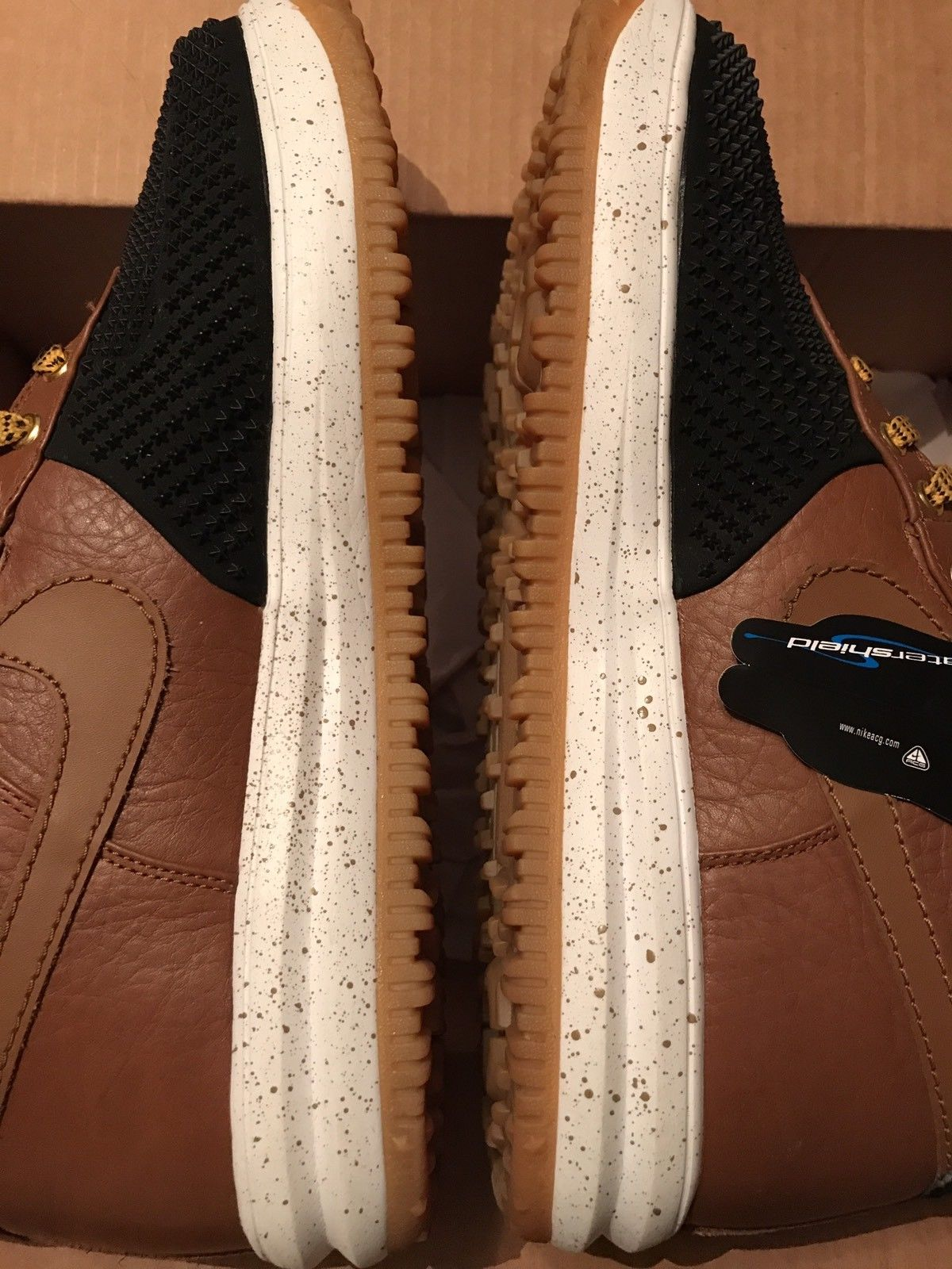Image of Lunar Force 1 Duckboot Black Light British Tan Gold Dirt White Size 13 Used Once