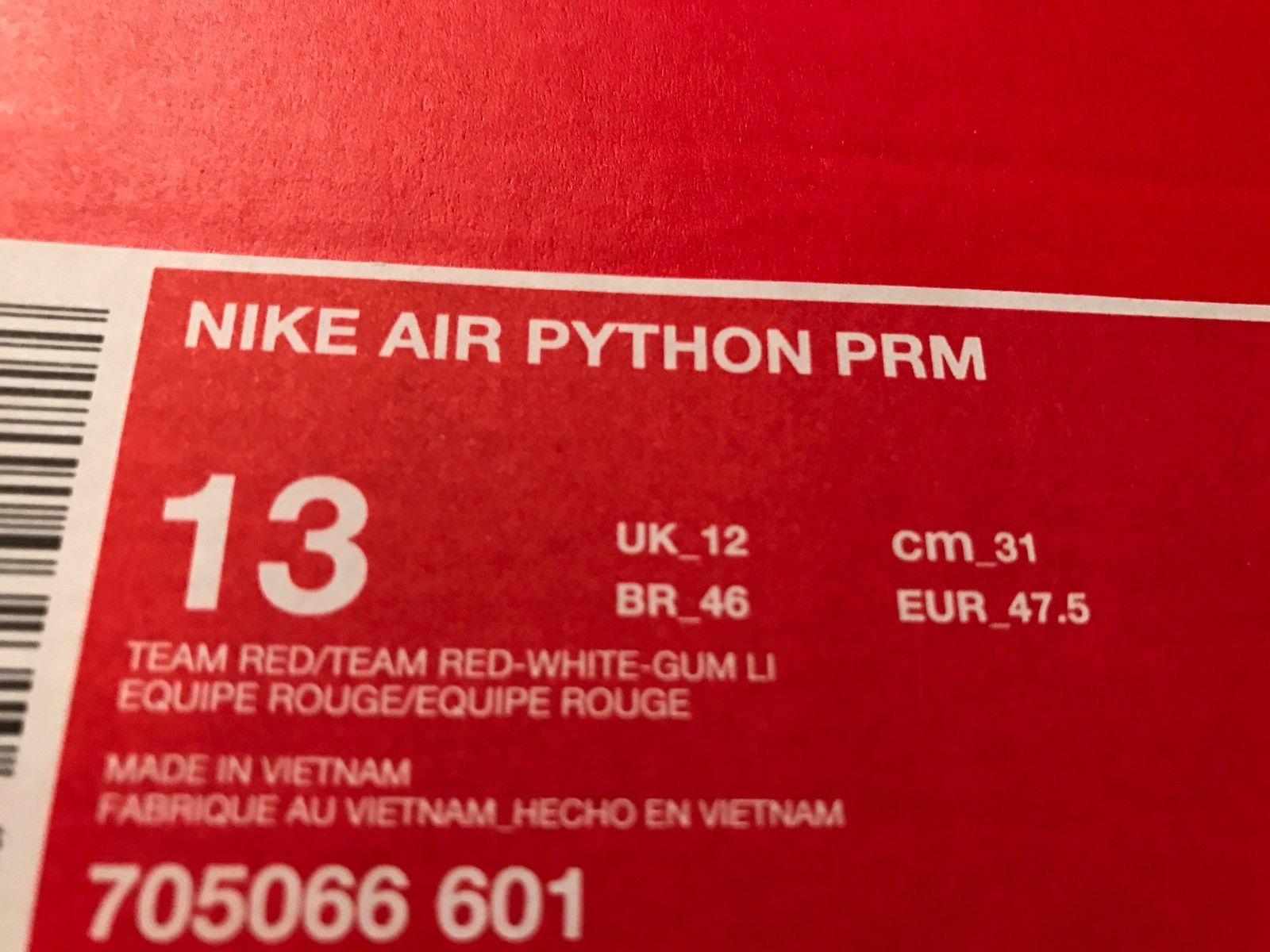 Image of Nike Air Python Premium Snake Skin Team Red/White/Gum Size 13 New