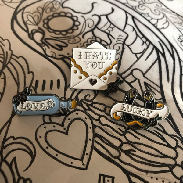 Image of Tattoo Collection Pins - Hate, Love, Lucky