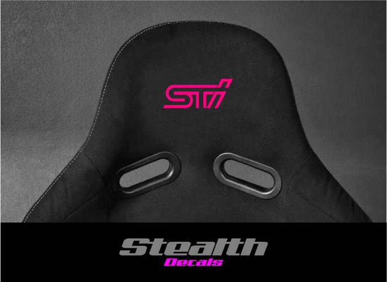 Image of 2x STI Flock seat logos, Easy iron-on