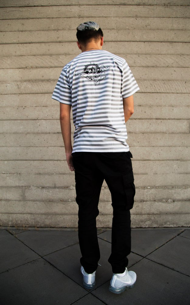 Image of Grey Striped Cherub Tee