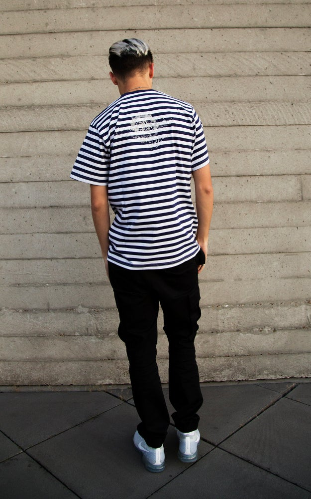 Image of Navy Striped Cherub Tee