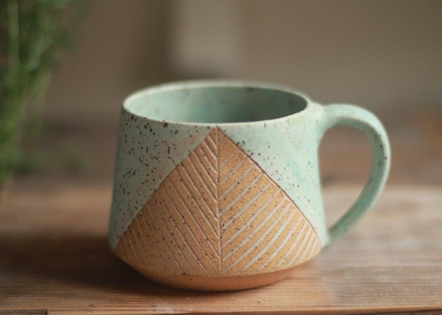 Image of Turquoise Matte Pyramid Mug