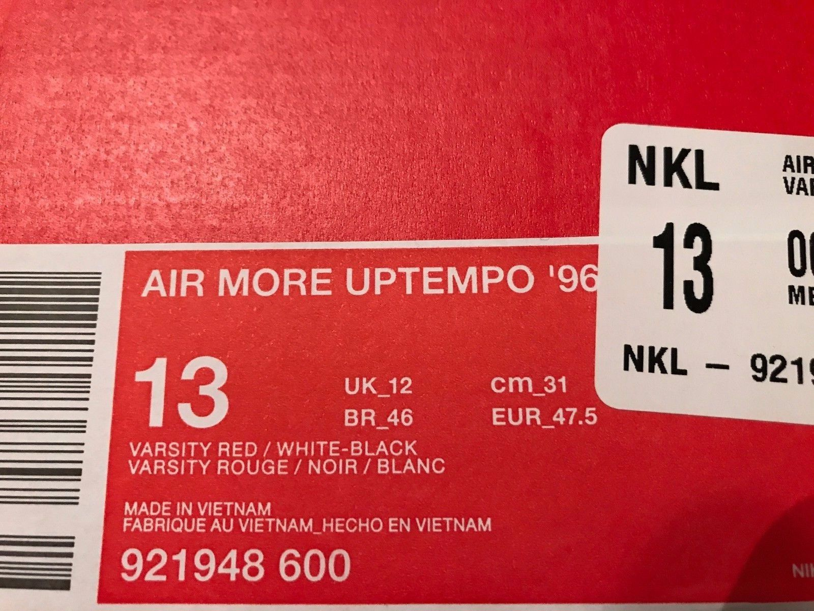 Image of NIKE AIR MORE UPTEMPO '96 Red Black 921948 600 2017 Chicago Bulls Size 13 - New