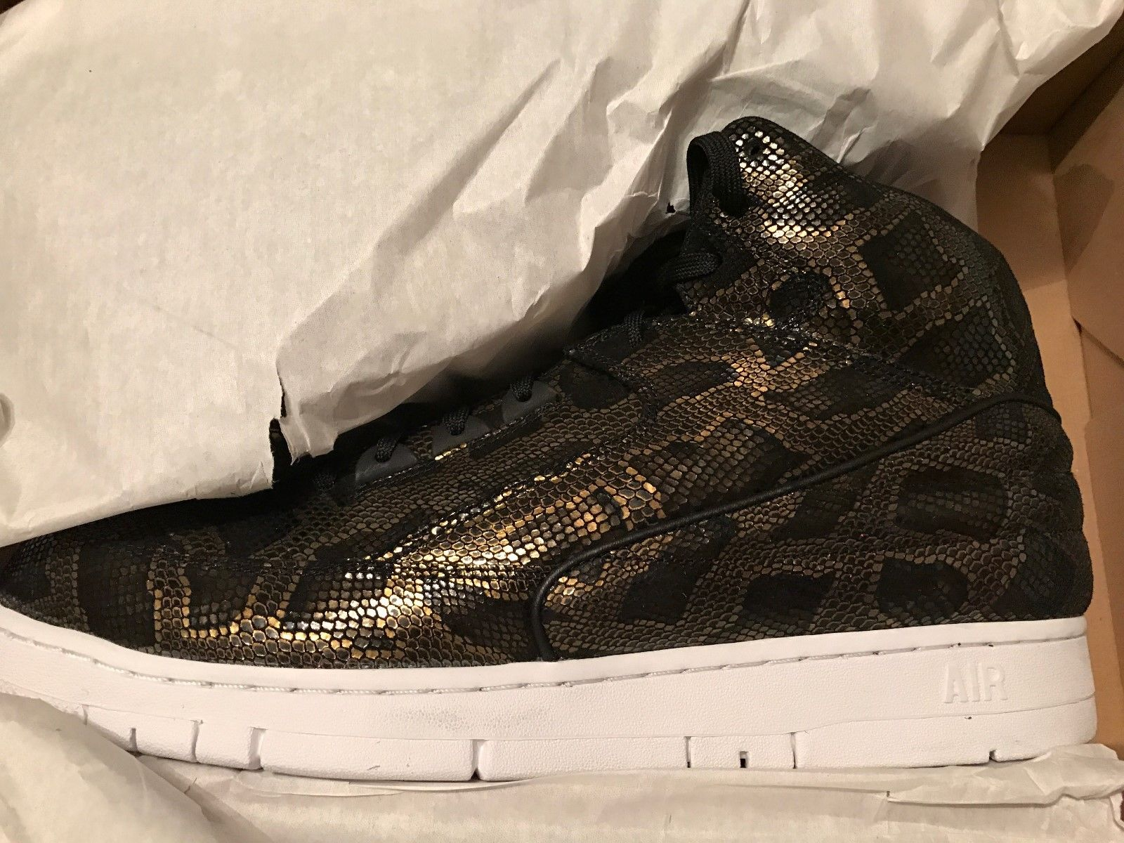 Image of Nike Air Python PRM Black White Snake Gold 705066 002 Size 13 - New