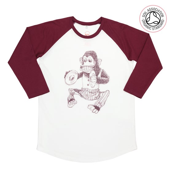 Image of Monkey Unisex White/Red Baseball T-Shirt (Organic)