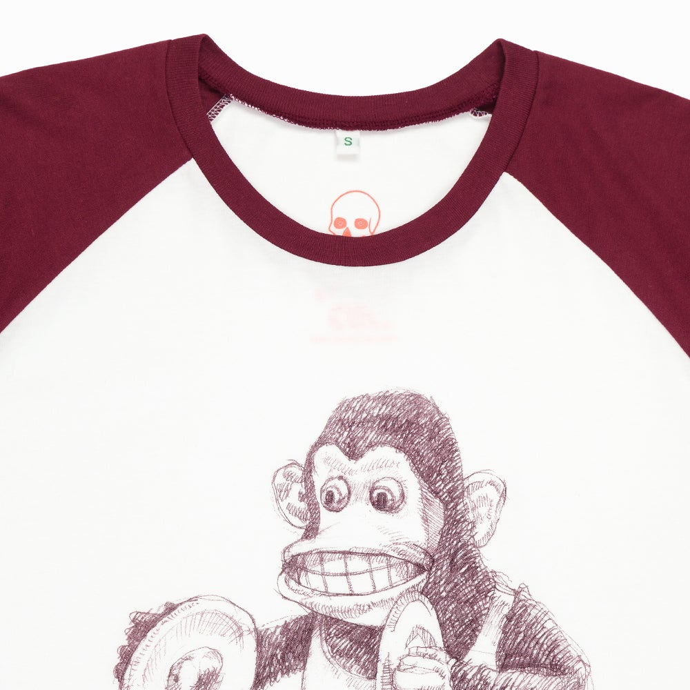 Image of Monkey Unisex White/Red Baseball T-Shirt (Organic)