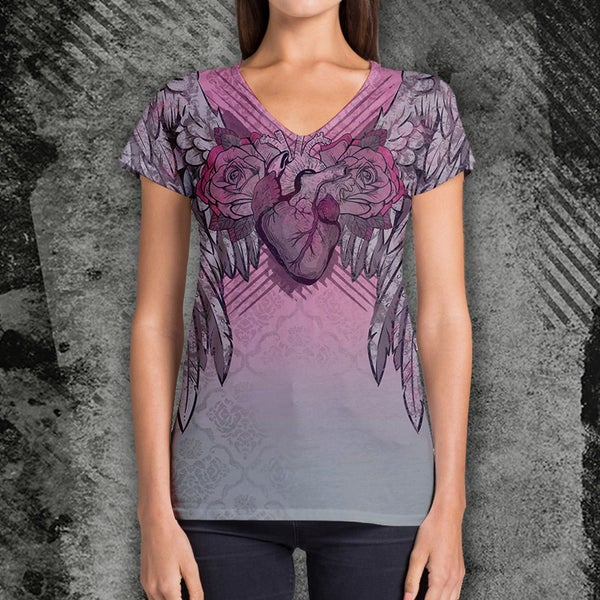 Image of Winged Heart V-Neck T-Shirt