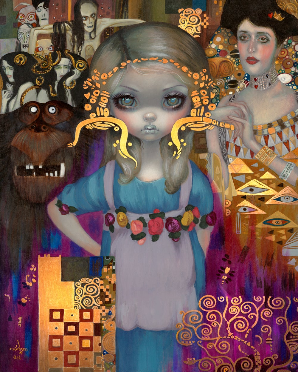 "Image of ""Alice in a Klimt Dream"" <br>Hand-Embellished Print <br>by Jasmine Becket-Griffith"