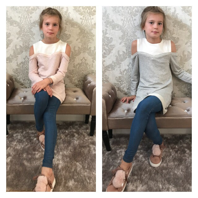 Image of Girls cold shoulder sweater