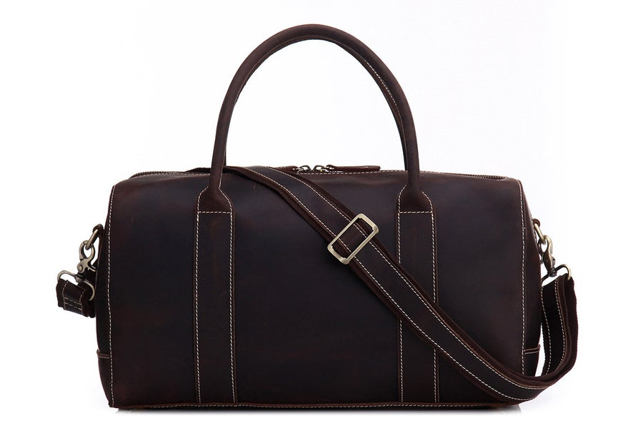 Image of Vintage Style Genuine Natural Leather Travel Bag, Duffle Bag, Weekender Bag 8643