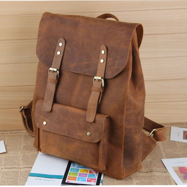 "Image of Large Vintage Handmade Leather Backpack / Satchel / Travel Bag / 17"" Laptop 17"" MacBook Bag (B01)"