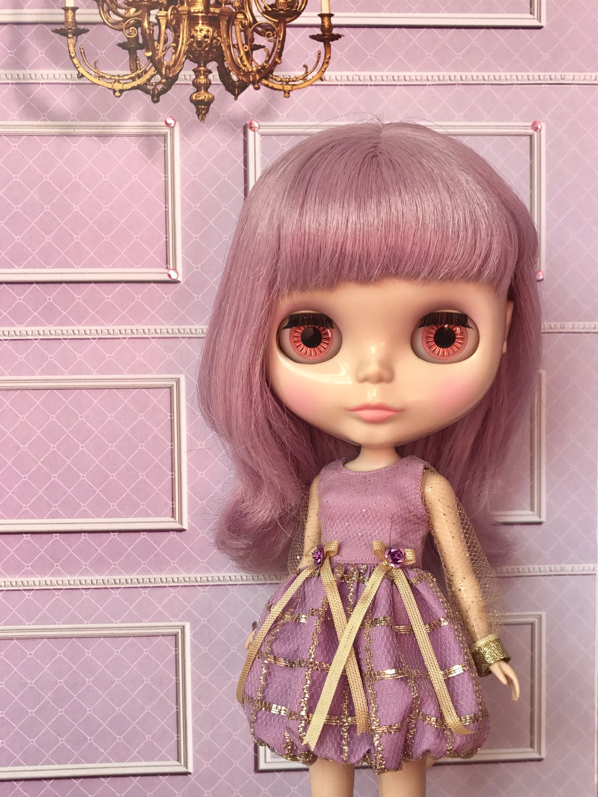 Image of Lounging Linda Gold Grid Bubble Dress ~ Lilac