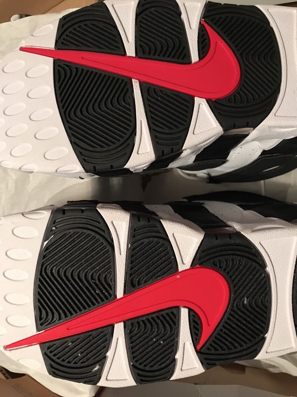 Image of Nike Air More Uptempo Size 13 White Black Varsity Red 414962-105 - New