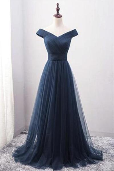 Off Shoulder Blue Tulle Floor Length Formal Dresses Elegant Party