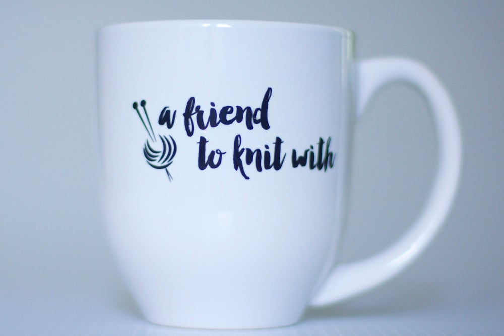 Image of a friend to knit with mug