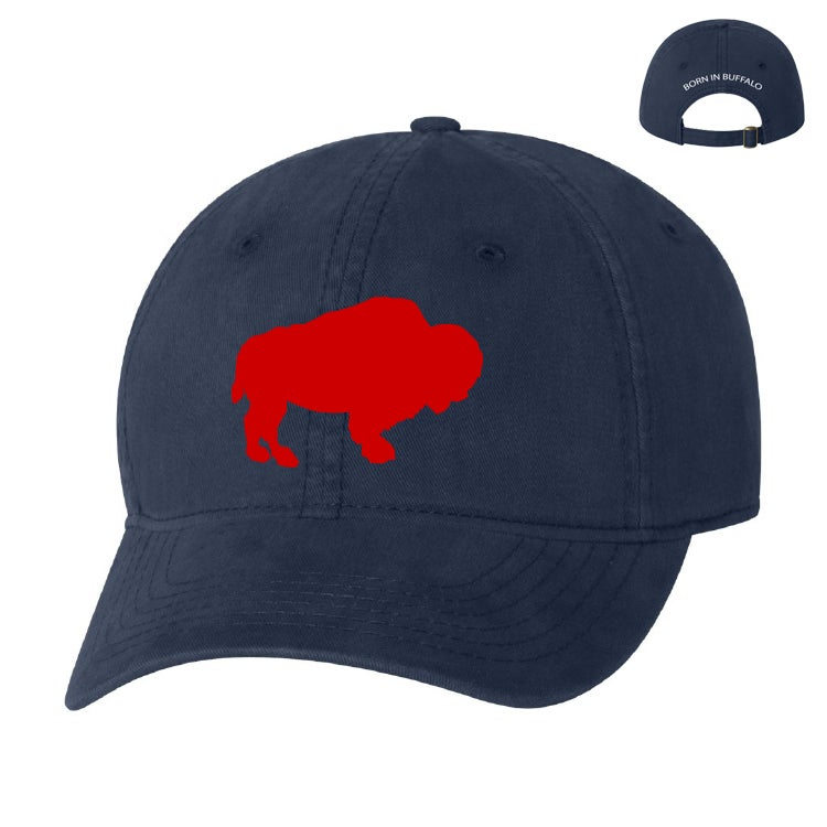 Image of Navy Blue Hat w/ Red Buffalo