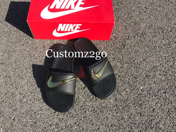 c4e701d7ffb2 All Black Nike Benassi Slides Custom with Gold Check