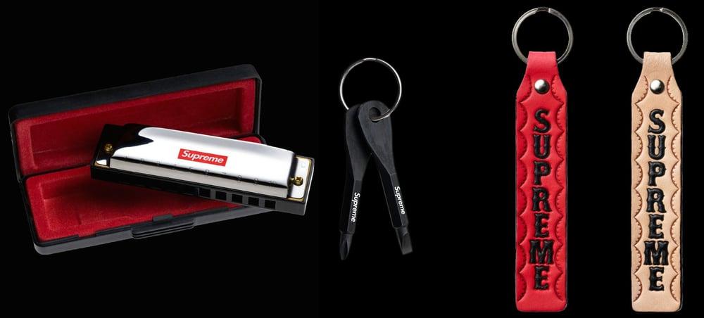 Image of 2012 Hohner Harmonica, Leather Strap Keychains, Maratac Screwdriver, & Snaphook Keychain