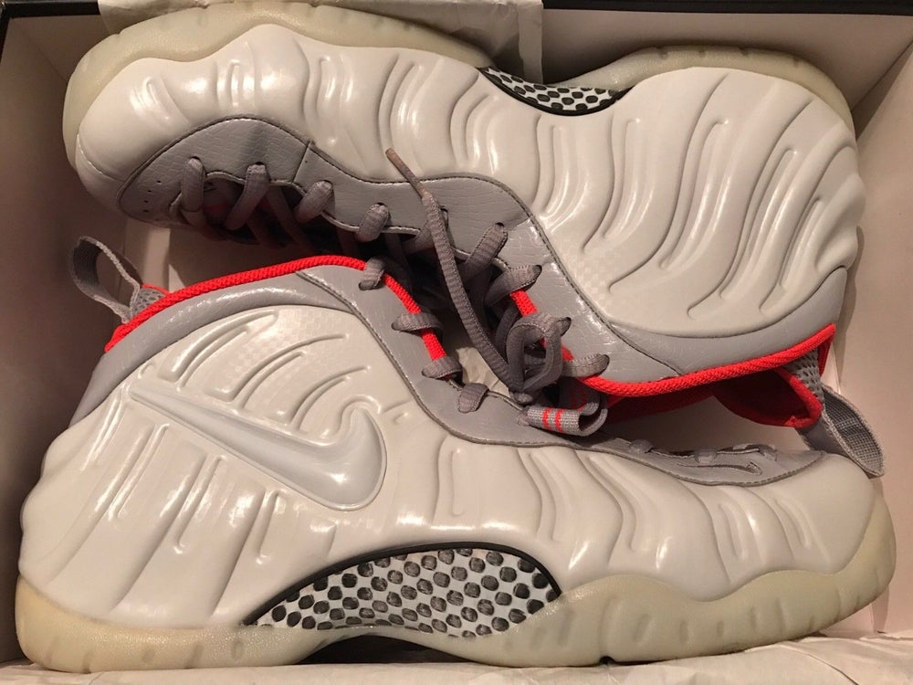 new style c9a81 16a8a Image of NIKE FOAMPOSITES PURE PLATNIUM  YEEZY  - WOLF GREY CRIMSON - SIZE