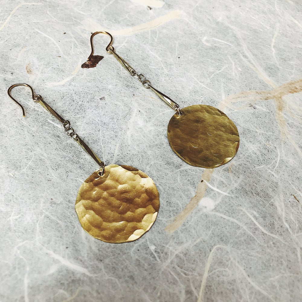 Image of Tapa hammered brass drop earrings