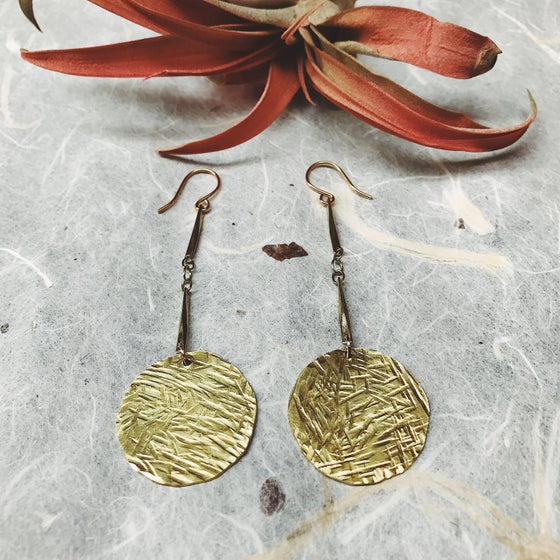Image of Tapa brass stamped earrings #2