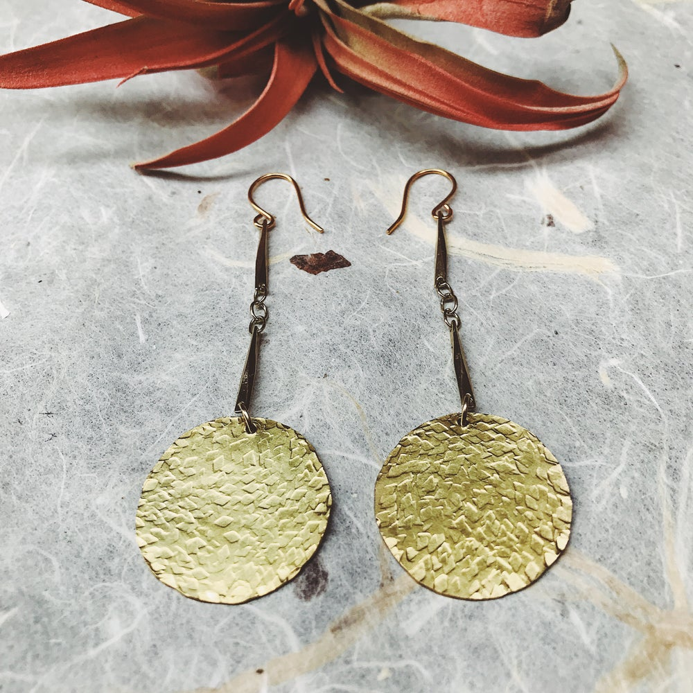 Image of Tapa hammered brass earrings #3