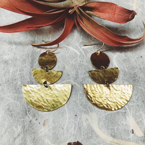Image of Papua hammered brass earrings