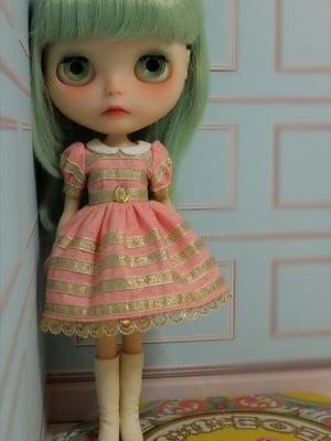 Image of Lounging Linda Gold Ribbon Baby Doll Dress ~ Rose Pink