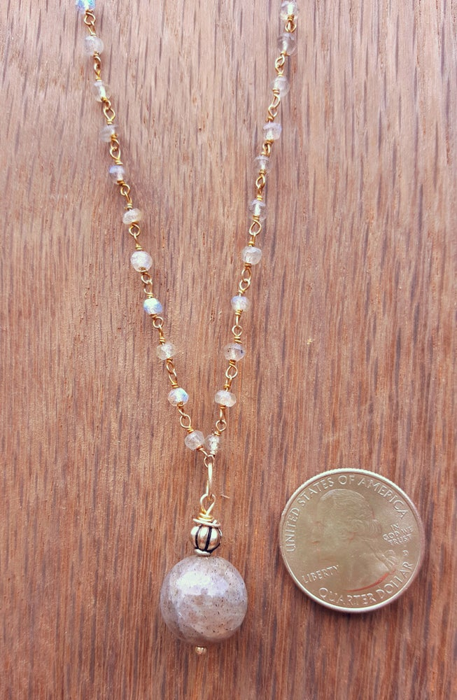 Image of 18 inch Labradorite necklace on a gemstone chain