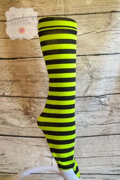 Image of Women's Green & Black Striped Knee Socks