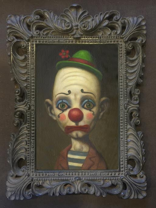 "Image of ""Anxiety Clown"" <br>Limited Edition Print <br>in Special Frame <br>by Marion Peck"