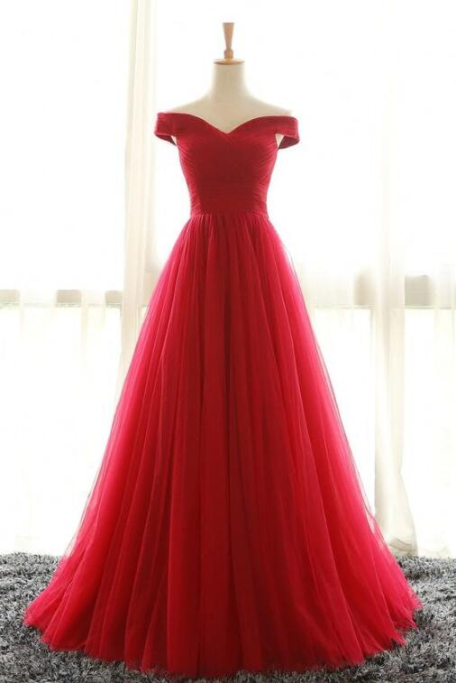 Off the Shoulder Tulle Prom Dress,Red Evening Dresses, Tulle Party Dresses