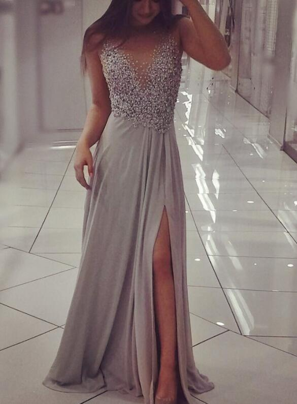 Grey Chiffon Slit Sequins Long Formal Dresses, Prom Dresses, Party Dresses