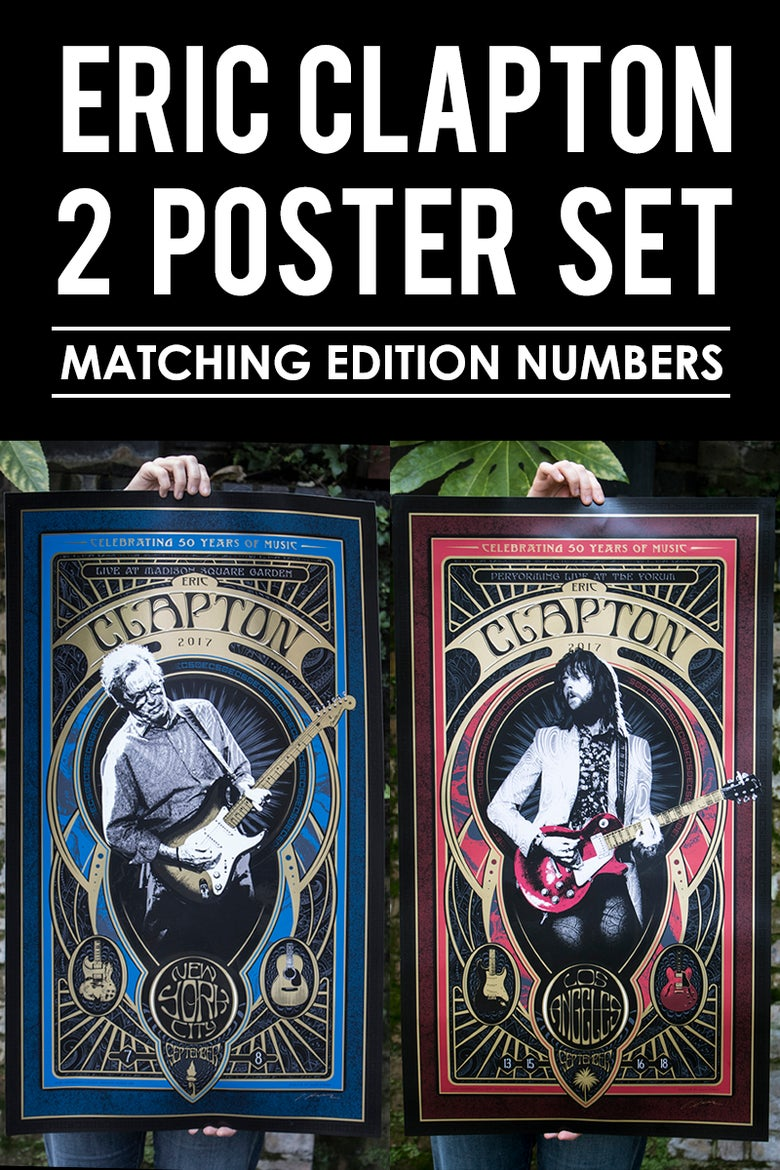 Image of ONLY 1 SET LEFT! Eric Clapton September Poster Set (Matching Numbers)