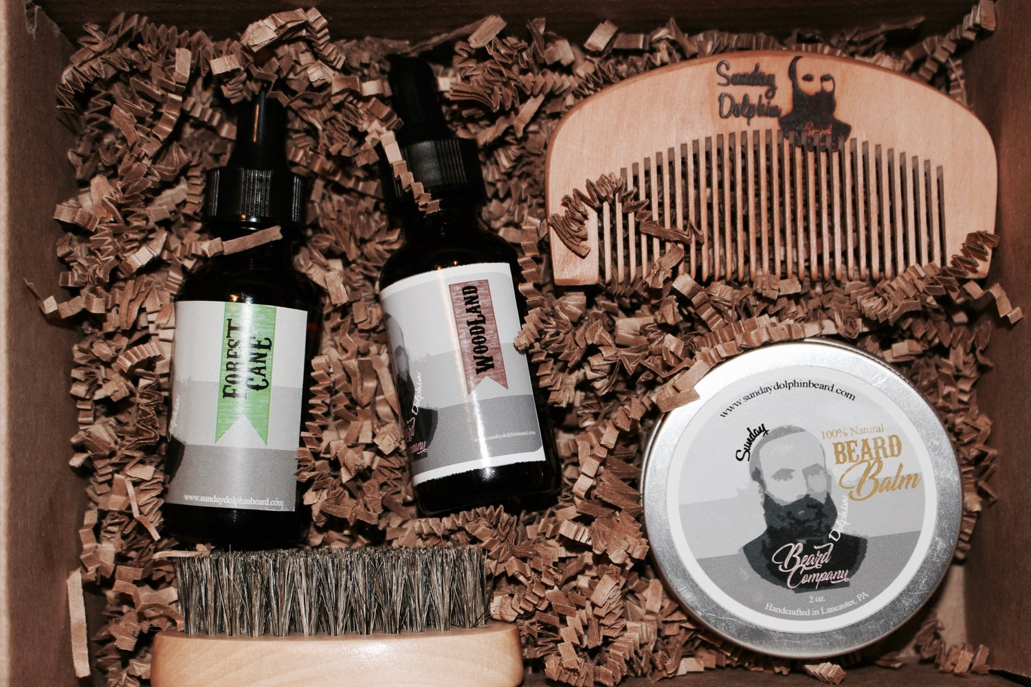 Image of Sunday Dolphin Beard Co. Complete Grooming Set TWO oils