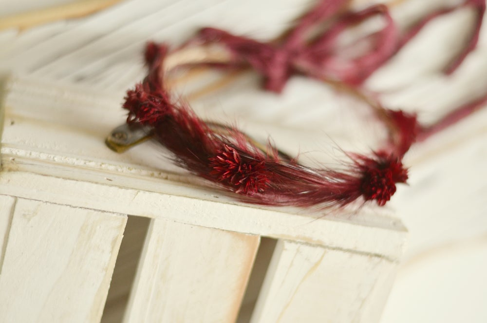 Image of Feathers and flowers halo (burgundy)