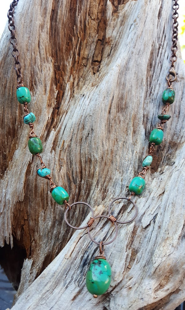Image of Green Turquoise and copper necklace