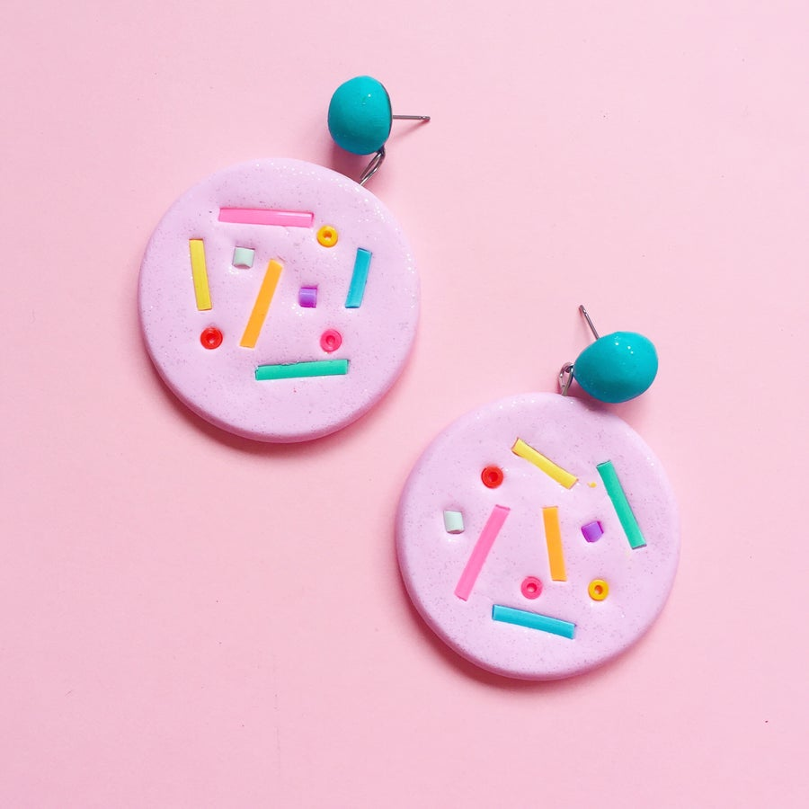 Image of Donut drop stud earrings