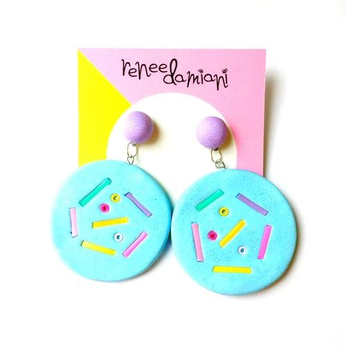 Image of Donut drop stud earrings