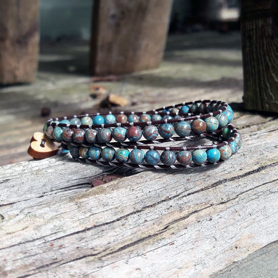 Image of Casilica Jasper Beads on Chocolate Leather Double Wrap Bracelet