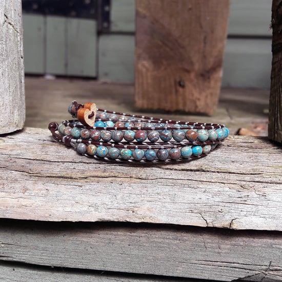 Image of Casilica Jasper Beads on Chocolate Leather Double Wrap Bracelet