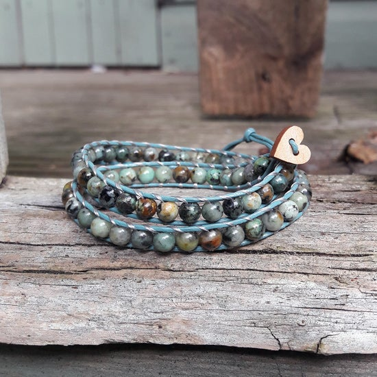 Image of African Turquoise (Jasper) Beads on Grey-Green Leather Double Wrap Bracelet